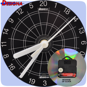 Darts - Designa - CD Clock - Black + White